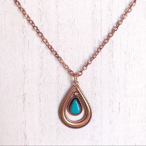Jewelry - Copper Tone Faux Turquoise Pendant Necklace